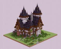 Minecraft Roof, Casa Medieval Minecraft, Minecraft Mansion, Minecraft Structures, Minecraft Cottage, Cute Minecraft Houses, Minecraft Plans, Amazing Minecraft, Minecraft Tutorial
