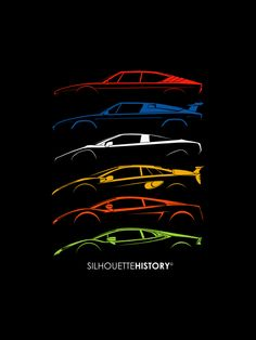 "silhouettehistory: "" Little Bulls SilhouetteHistory Silhouettes of the Lamborghini mid-engined V8/V10 cars: Uracco, Jalpa, P140 (concept), Cala (concept), Gallardo, Huracán "" Throwback Thursday Home 