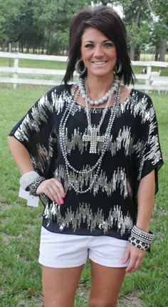 Miss Fancy Pants Black Blouse with Silver Sequins www.gugonline.com