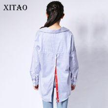 [XITAO] corea moda 2017 verano mujer de manga larga gira el collar abajo rojo rayas cinta volver cardigan pullover blusas YZY001