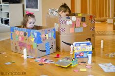 Let& turn up the heat on box decorating with these 4 simple tips! Turn box decorating into a full on, long lasting toddler activity using these easy ideas. Outdoor Games For Preschoolers, Indoor Activities For Toddlers, Toddler Learning Activities, Preschool Games, Preschool Crafts, Children Activities, Nanny Activities, Craft Activities, Chore Chart For Toddlers