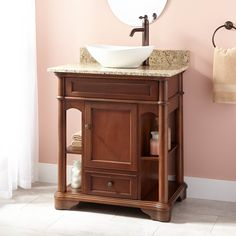 "30"" Perdue Vessel Sink Vanity - Walnut - Bathroom Vanities - Bathroom"
