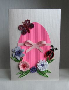 Quilling Easter Cards - Pelicitari de Paste And here are the expected model with several variations of colors. Quilling Birthday Cards, Paper Quilling Cards, Paper Quilling Patterns, Diy Easter Cards, Easter Crafts, Spring Crafts, Holiday Crafts, Homemade Cards, Handmade Crafts