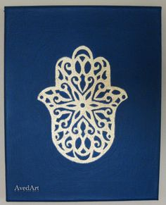 Hamsa (Khamsa) Hand canvas painting. via Etsy.