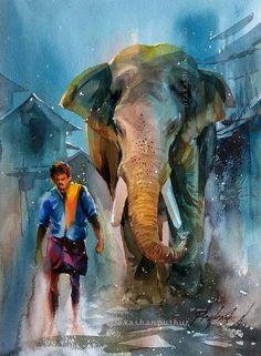 Animals Watercolor Scenery, Watercolor Paintings Nature, Scenery Paintings, Landscape Watercolour, Human Painting, Parrot Painting, Kerala Mural Painting, Glass Painting Designs, African Art Paintings