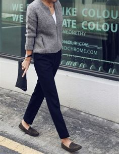 Casual Friday? Just pair a cashmere-blend cardigan, cigarette pants and comfy slip-on loafers - Outfit ideas for work - #office #style
