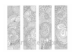Coloring Page Bookmarks Zendoodle / Zentangle Inspired Printable Coloring, Instant Download, Sheet 18