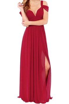 Solid Color Side Slit V-Neck Maxi Dress