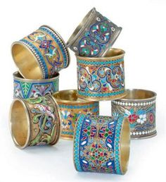 EIGHT RUSSIAN SILVER CLOISONNE ENAMEL NAPKIN RINGS,  VARIOUSLY MARKED,http://www.christies.com/
