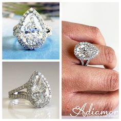 Engagement Rings, Loose Diamonds and Fine Jewelry at Adiamor Pear Shaped Engagement Rings, Split Shank, Gia Certified Diamonds, Pear Shaped Diamond, Ring Designs, Diamond Earrings, Fine Jewelry, Check, Beauty