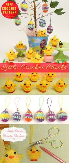 Little Crochet Chicks [Free Pattern] Eleven Things in Ten Minutes. Very easy and fast to do crochet set for coming Eastern. Find out few buttons, needle and thread, of course, some good yellow yarn, that's it. #crochet #freepattern #eastercrochetpattern #amigurumi