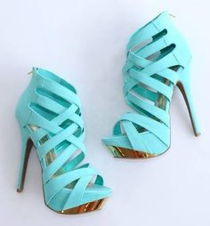 Gorgeous Blue Leather High Heel Shoes
