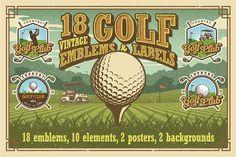 Set of vintage golf emblems by VectorPot on @creativemarket