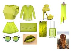 """""""Day and Night 8-Lime Green"""" by marianaraposo on Polyvore featuring Chicnova Fashion, jucca, BCBGMAXAZRIA, MSGM, Anne Michelle, Lodis, Ray-Ban, Casetify and Essie"""