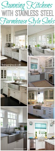 Stunning Kitchens with Stainless Steel Farmhouse Style Sinks at thehappyhousie.com