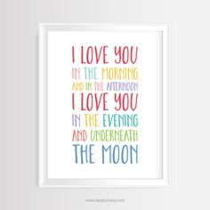 I Love You In The Morning and In The Afternoon- Printable wall art-Nursery/Kids quote–8 x 10 inches -JPG and PDF-Instant Download