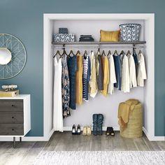 Simplicity meets elegance with our premium wood shelving.   #HomeOrganization #DIY #ClosetMaid #ReachInCloset Wood Shelves, Shelving, Diy Closet System, Reach In Closet, Closet Bedroom, Home Organization, Wardrobe Rack, Furniture, Plants