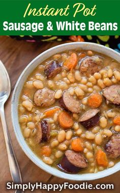 Instant Pot Sausage and White beans with smoky kielbasa or your favorite smoked sausage, onion, garlic, carrots, and white beans. A delicious pressure cooker sausage and beans one-pot meal. Pressure Cooker Beans, Instant Pot Pressure Cooker, Pressure Cooker Recipes, Slow Cooker, Pressure Cooking, Kielbasa, Bean And Sausage Soup, White Beans And Sausage Recipe, Bean Soup