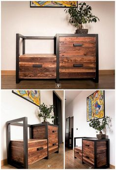 This wood pallet chest of drawers set is beautifully designed with the involvement of the different dark brown hues being done over it. You would be falling in love with this chest of drawers design that is so classy and modern looking in designing variations.