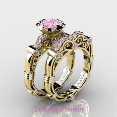 Gorgeous Caravaggio 14K Yellow Gold 1.0 Ct Light Pink Sapphire Engagement Ring Wedding Band Set R623S-14KYGDLPS | Art Masters Jewelry