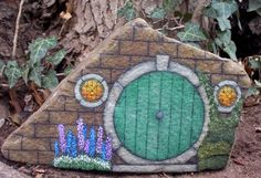 'The Hobbit's Door - OOAK Hand Painted Rock Art' is going up for auction at 9pm Wed, Jan 2 with a starting bid of $12.