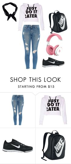 """""""Lazy school day"""" by summerclimber ❤ liked on Polyvore featuring Frame Denim, NIKE and Boohoo"""