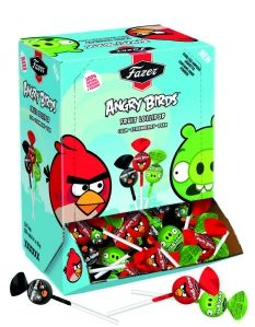 The Finnish companies like Fazer are trying to boost their sales by utilising the Angry Birds brand. Lollipops