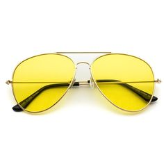 Rhea Gold Frame Tinted Yellow Lens Retro Sunglasses