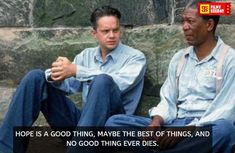 Get busy living, or get busy dying. — Andy Dufresne (Tim Robbins) and Red (Morgan Freeman), The Shawshank Redemption (Another great movie. The getaway scene is such an upper. Movie Trivia, Movie Facts, Movie Tv, Fun Facts, Andy Dufresne, Movies Showing, Movies And Tv Shows, Die Verurteilten, Tim Robbins