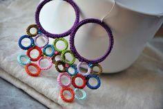 Large Colorful Crochet Earrings. Lightweight Jewelry