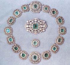 SWEDEN_Queen Silvia of Sweden's Leuchtenberg Emerald Demi-Parure - a belt and of…