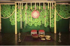 Pellikooturu decor with taamara leaves backdrop. Wedding Backdrop Design, Wedding Hall Decorations, Diy Diwali Decorations, Marriage Decoration, Engagement Decorations, Backdrop Decorations, Festival Decorations, Flower Decorations, Backdrops