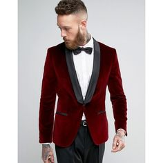 Browse online for the newest HUGO by Hugo Boss Arian Velvet Tux Blazer Satin Lapel Slim Fit styles. Shop easier with ASOS' multiple payments and return options (Ts&Cs apply). Mens Red Velvet Blazer, Mens Velvet Suit, Smoking, Red Tuxedo, Slim Fit Tuxedo, Asos, Slim Fit Dresses, Grey Dress Pants, Men Fashion