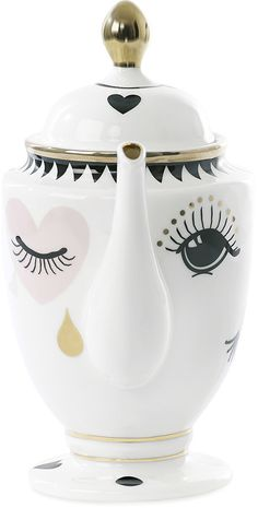 Miss Étoile - Eye & Tear Teapot -Add a touch of whimsy to the breakfast table with this Eye & Tear teapot from Miss Etoile. Made from crisp white ceramic, it features a feminine face with long eyelashes and gold tear drop detailing.  [ad]