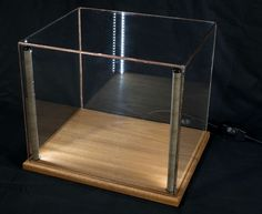 """12x10"""" Mahogany - Lighted Display Case for Minerals, Fossils, Art, Curios, etc."""