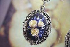 """Купить Серьги """"Ночь в саду"""" - серьги, розы ручной работы, цветы, ночь, звезды, пудровый"""