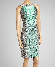Another great find on #zulily! Voir Voir Mint & Black Python Yoke Dress by Voir Voir #zulilyfinds