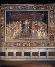 Simone Martini (Italian artist, 1280-85-1344) Maestà (Virgin with Child Enthroned between Saints and Angels) 1315 Fresco, 763 x 970 cm Palazzo Pubblico, Siena  Maestà (Мадонна с ангелами и святыми). 1315 Фреска. Палаццо Пубблико, Сиена.