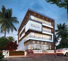 Inspired By Contemporary Commercial Complex - Timeless Stunning Dream Commercial Complex Night Rende Building Front, Building Exterior, Building Facade, Building Design, Architecture Design, Office Building Architecture, Residential Architecture, Mall Facade, Facade House