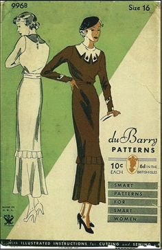 1930s Ladies Dress with Fabulous Collar Treatment - du Barry Sewing Pattern #996B - Note: NRA symbol for dating purposes.