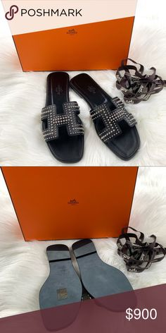 cfa7dcd738af HERMES Oran - Black Stud - Size 36.5 Brand new. Comes with box and dust