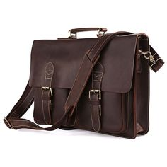 "Leather Family — Top Quatily Crazy Horse Leather Briefcase Messenger Bag 14""15"" Laptop 13""15"" MacBook--FREE SHIPPING"