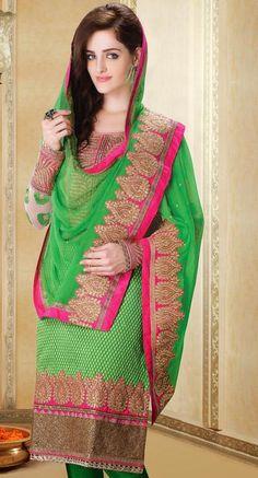Green Silk Resham Work Salwar Suit 28458
