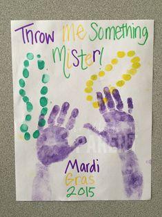 Adorable handprint craft for Mardi Gras!