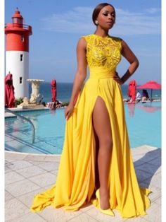 DAFFODIL SLEEVELESS A-LINE HIGH SLIT LONG PROM DRESS                                                                                                                                                                                 More