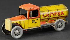 "clockwork ""Campsa"" fuel truck. German, litho'd tin, c.1936"