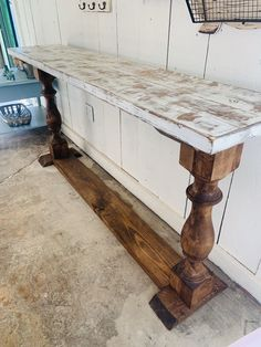 Excited to share this item from my shop: Rustic Farmhouse Entryway Table with shelve and Turned Legs, Provincial Base Weathered White Top, Wooden Sofa Console Table Source by capecurbside Decor entryway Plywood Furniture, Rustic Furniture, Painted Furniture, Cabinet Furniture, Furniture Projects, Kitchen Furniture, Luxury Furniture, Furniture Decor, Furniture Design