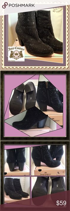 """Juicy Couture Avora Ankle Boots in Black 9M Gorgeous, Juicy Couture, black uniquely sparkling shoes. These boots have tiny Sequin like beads that cover the body of the shoes. The shoes sparkle in the light. The 3"""" stacked heels make the shoes very comfortable to wear for long periods of time. These boots are preowned and have been worn. They are a size 9M. Box included. From smoke free home with pets. No holds or trades please, Juicy Couture Shoes Heeled Boots"""