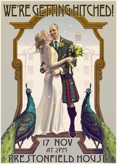 Utterly beautiful invitation (painted by the Groom!) just added to this feature alastairmclauchla... with link to the Groom's blog.