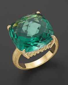 Judith Ripka 18K Gold Cushion Stone Ring with Green Quartz. What a beautiful cocktail ring!